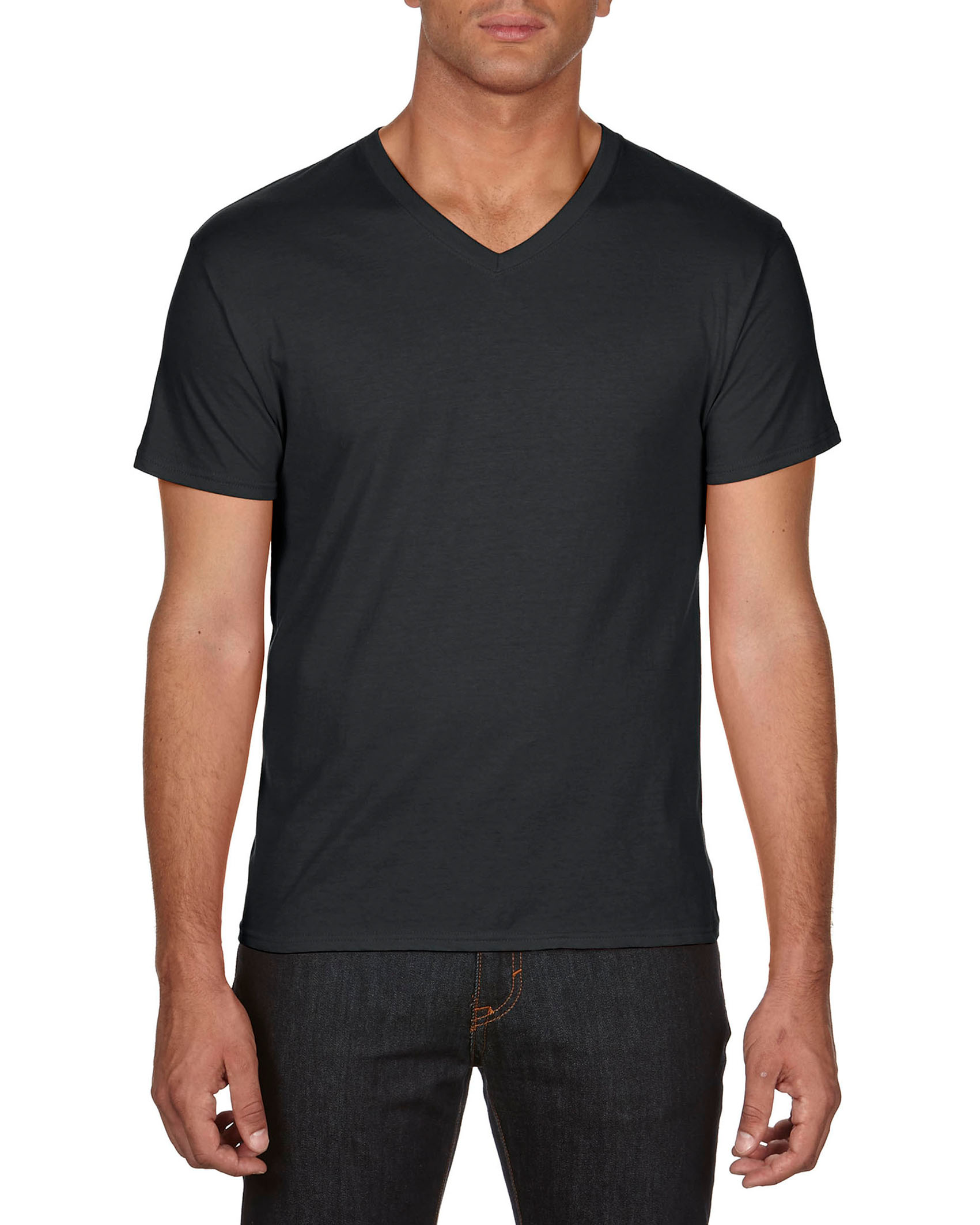 Anvil T-shirt Featherweight V-neck SS for him black XL